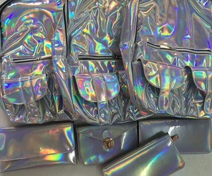bag, holographic, and grunge image