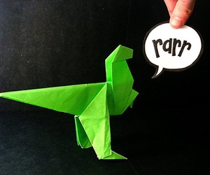 dinosaur, origami, and cool image