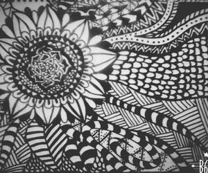 blanco y negro, dibujo, and flores image