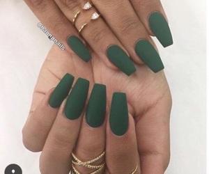 nails, green, and rings image