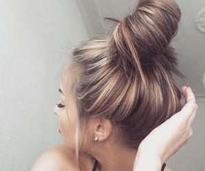 beauty, makeup, and bun image