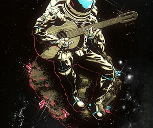 space, guitar, and astronaut image