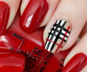 nails, red, and Burberry image