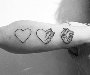 black and white, heart, and tattoo image