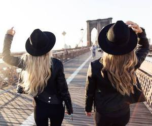 girl, hat, and friends image