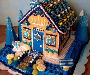 desserts, gingerbread house, and hanukkah image