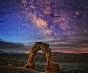 arches, night sky, and stars image