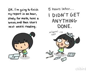 procrastination, homework, and funny image