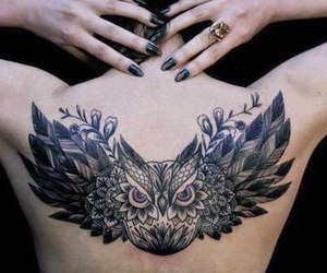 tattoo, owl, and black image