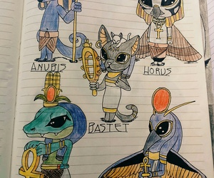 drawings, egyptian, and gods image