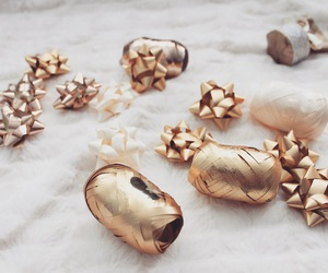 christmas, gold, and ribbon image
