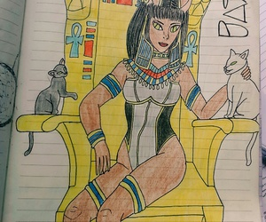 cat, bastet, and drawings image
