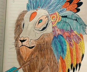 colours, lion, and wings image