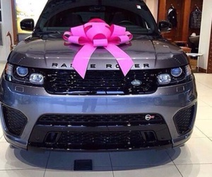 car, pink, and bow image