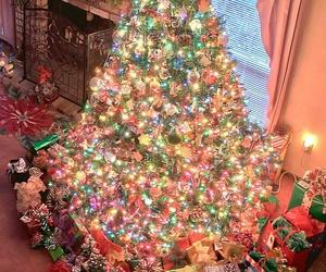 christmas tree, decorations, and santa image