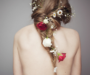 braid, brunette, and flowers image