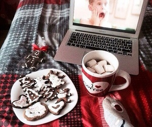 christmas, coffee, and computer image