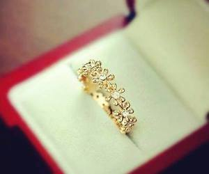 ring, flowers, and gold image