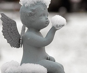 angel, snow, and winter image