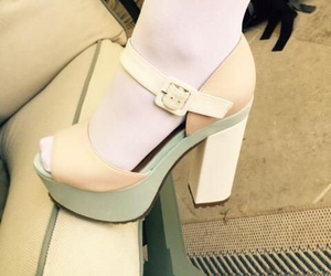 high heels, tights, and pastel image