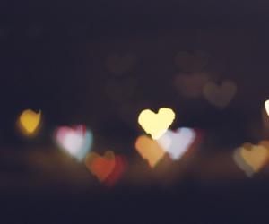 bokeh, city light, and heart image