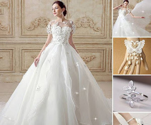 ring, bridaldress, and shoes image