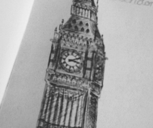 black and white, pretty, and clock image