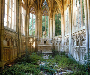 church, abandoned, and nature image
