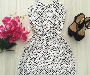 black and white, dress, and flores image
