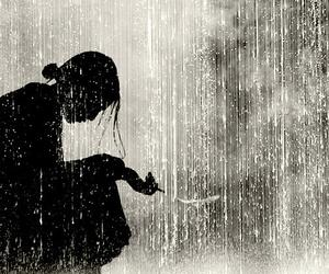 rain, black and white, and sad image