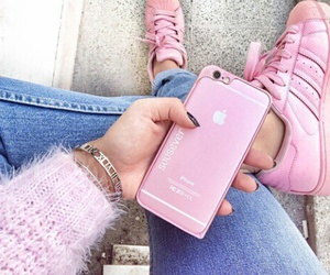 pink, iphone, and adidas image