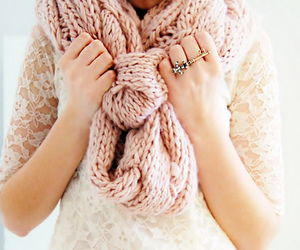 fashion, scarf, and pink image