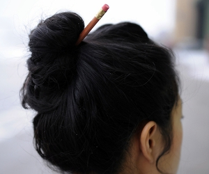 hair, hairstyle, and pencil image