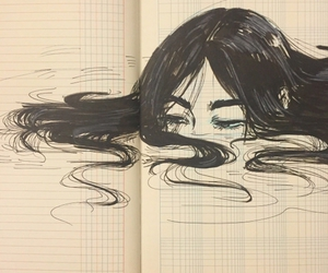 art, drowning, and lost image