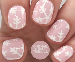 nails, snowflake, and pink image