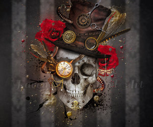 etsy, red roses, and human skulls image