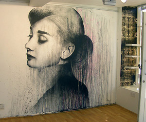 art, audrey hepburn, and wall image