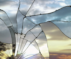 broken, glass, and mirror image