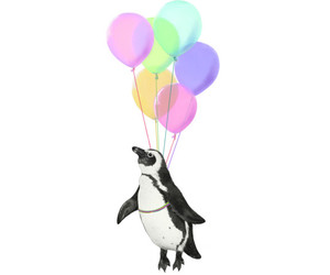 art, penguin, and balloons image