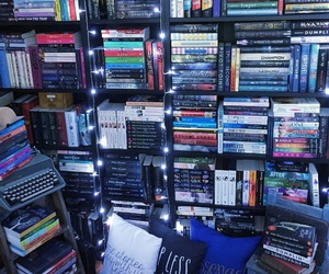 books, readers, and bookshelf image