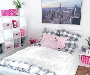 room, bed, and pink image