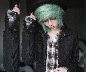 dyed hair, neon hair, and green hair image
