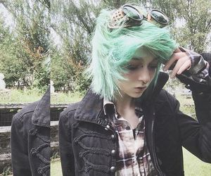 colorful hair, dyed hair, and green hair image