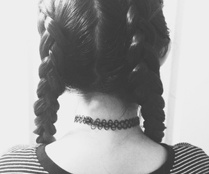 beauty, black and white, and braids image
