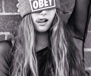 obey, girl, and black and white image