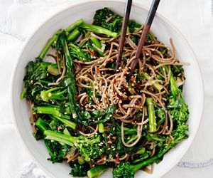 food, noodles, and broccoli image