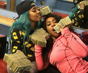 blue hair, fashion, and money image