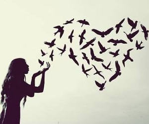 birds, girl, and heart image