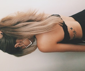 back, blonde, and earrings image
