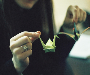 girl, origami, and vintage image